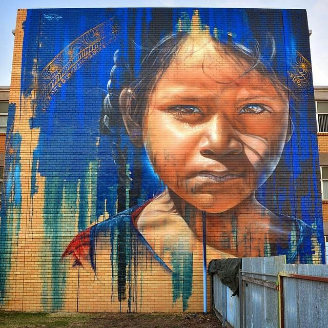 Adnate creates a new mural in Benalla, Australia for Wall To Wall
