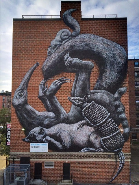 ROA paints a massive mural in Harlem, NYC for Monument Art