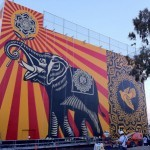 "Shepard Fairey ""Peace Elephant"" New Mural In Los Angeles At The West Hollywood Library"