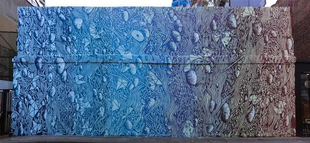 Tellas creates a large mural in East London, UK