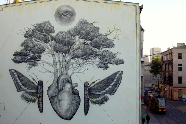 Alexis Diaz unveils a new mural in Lodz, Poland