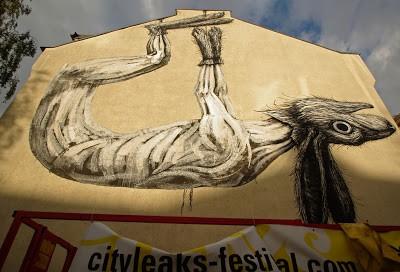 ROA New Mural In Progress, Cologne Germany