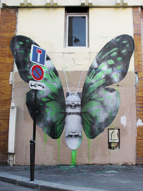 "Ludo ""Thrasherepidoptera"" New Mural In Paris"