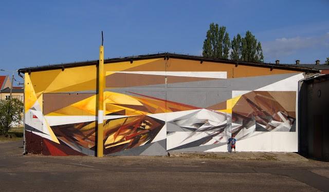 """""""Shockwave"""" a mural by Pener in Olsztyn, Poland"""