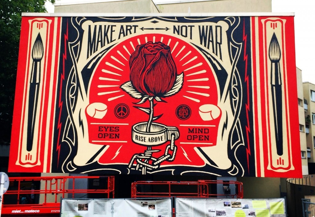 "Shepard Fairey unveils ""Make Art Not War"" for Urban Nation in Berlin, Germany"