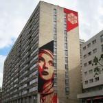 """Shepard Fairey """"Rise Above Rebel"""" New Mural In Paris"""