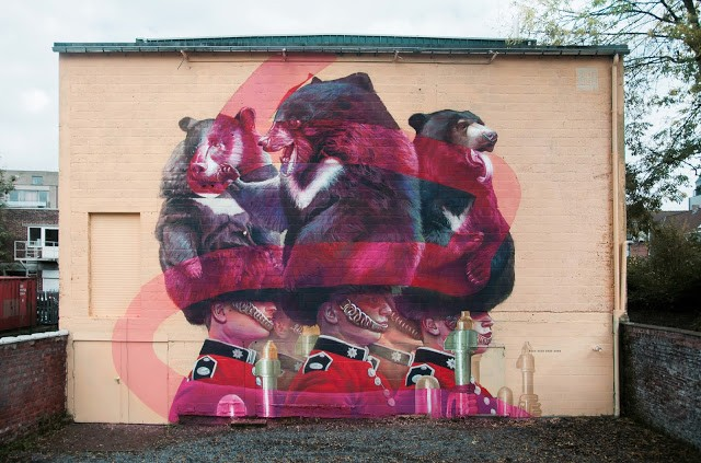 Telmo Miel paints a new mural in Deinze, Belgium