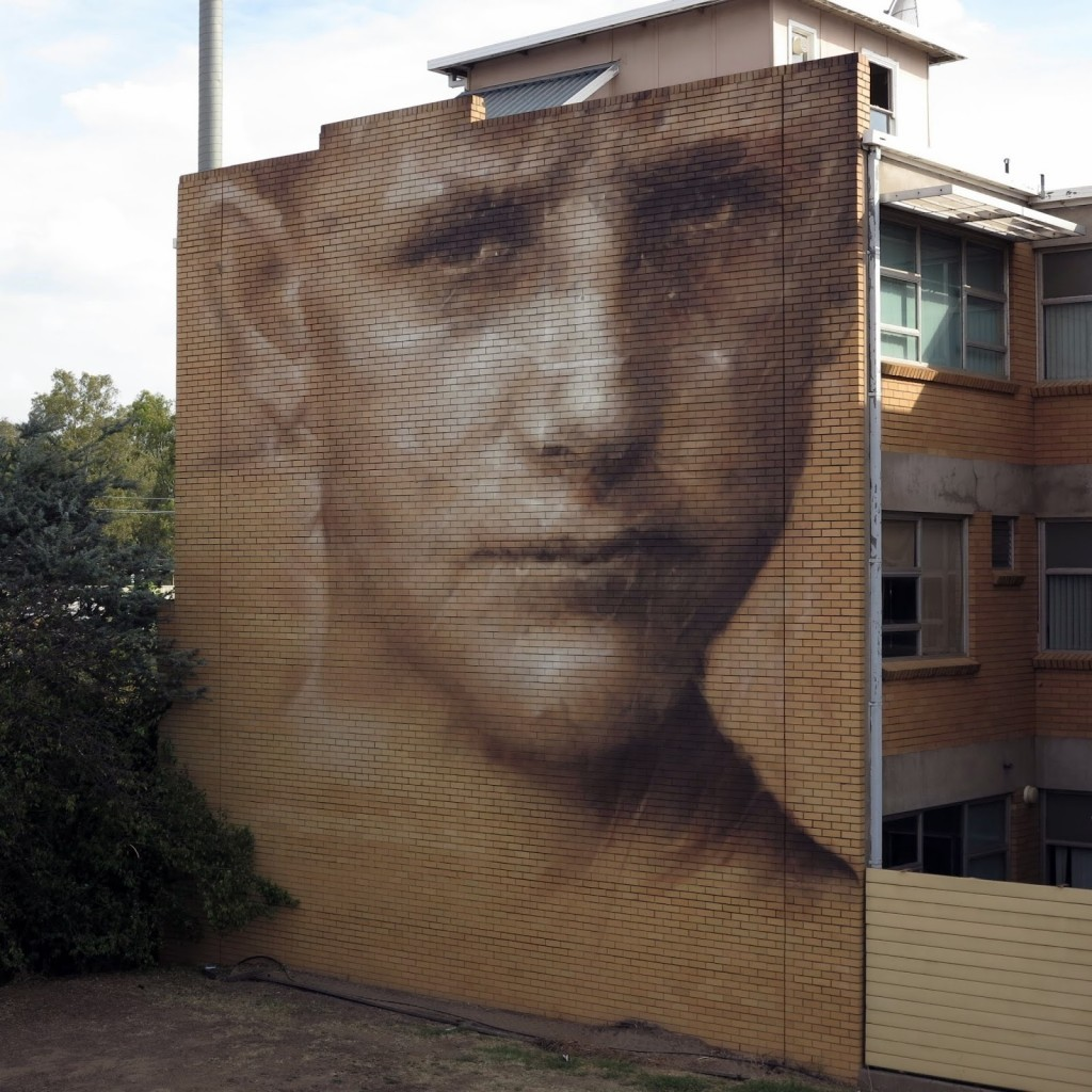 Guido Van Helten creates a massive portrait for Wall To Wall in Benalla, Australia