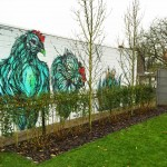 "DZIA creates ""Chickens on a stick"", a new mural in Herentals, Belgium"