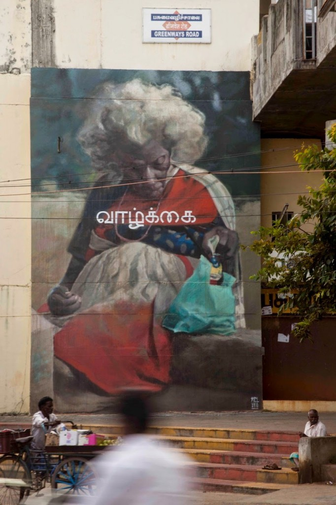 Axel Void creates a new mural on the streets of Chennai in India