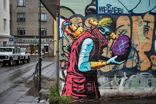 Deih creates a series of street pieces in Reykjavik, Iceland