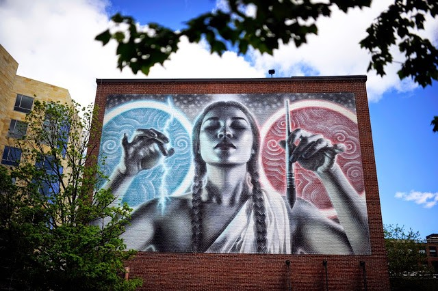 El Mac paints a large-scale mural in Boston, USA
