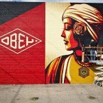 "Shepard Fairey ""Rise Above"" New Mural In Progress, Dallas"