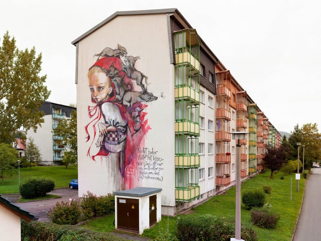 "Herakut ""Once upon a time"" a new mural for WallCome Festival in Schmalkalden, Germany"