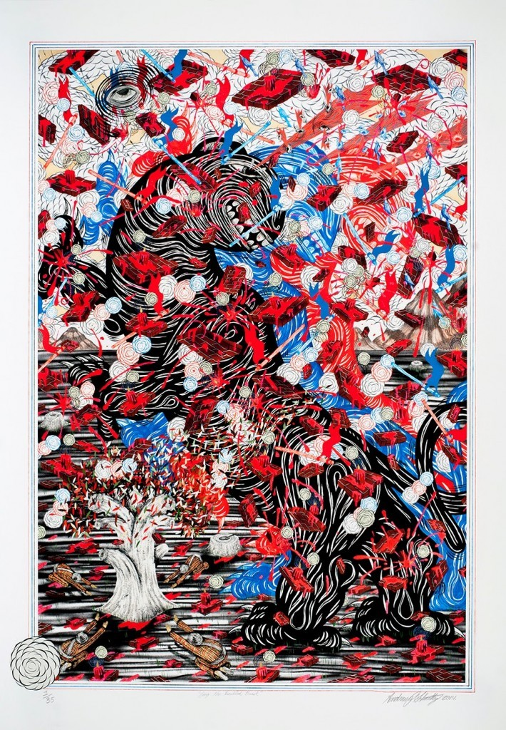 """Andrew Schoultz """"Sing The Troubled Beast"""" Limited Edition Hand-Painted Print – Available May 15th"""