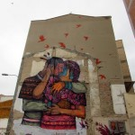 Saner paints a large mural in Zaragoza, Spain for Asalto Festival
