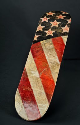 "Shepard Fairey ""Flag"" HPM Skate Deck Charity Auction"