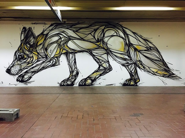 """Silver Fox"" a mural by DZIA in Antwerp's Premetro"
