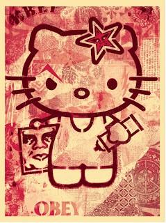 Shepard Fairey 'Hello Kitty' Print Pink Version