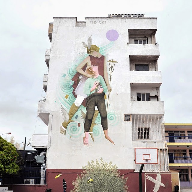 Fikos paints a series of new pieces in Athens, Greece