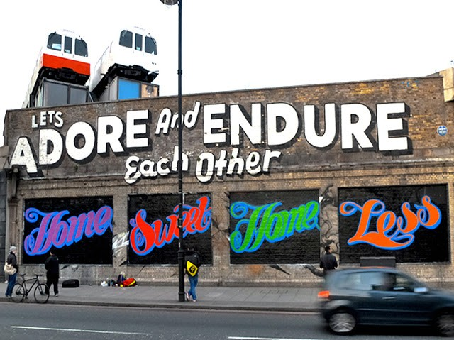 """Ben Eine """"Home Sweet Home Less"""" New Mural In London"""