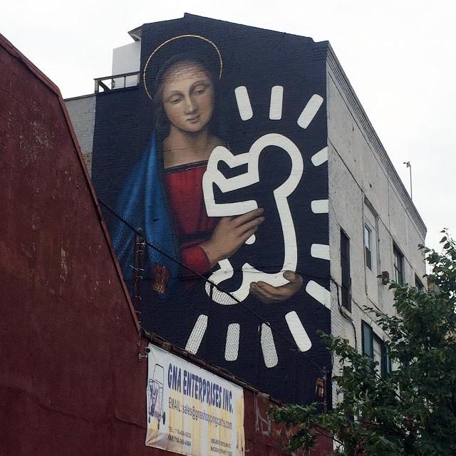 Owen Dippie creates a new mural in Bushwick, New York City