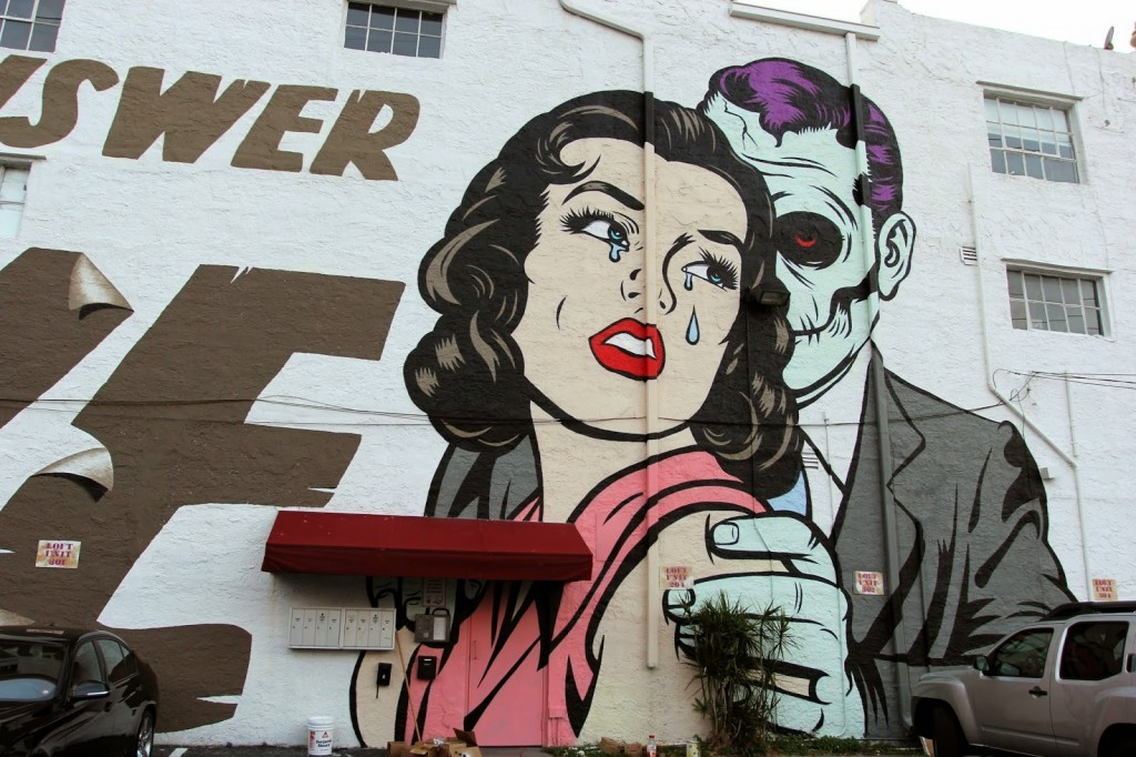 "Art Basel '14: DFace paints ""Is The Answer LOVE"", a massive mural in Wynwood, Miami"