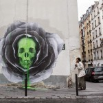 "Ludo creates ""Flower Skull"", his newest piece on the streets of Paris, France"