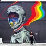 Ernest Doty unveils a new mural in Oakland, California