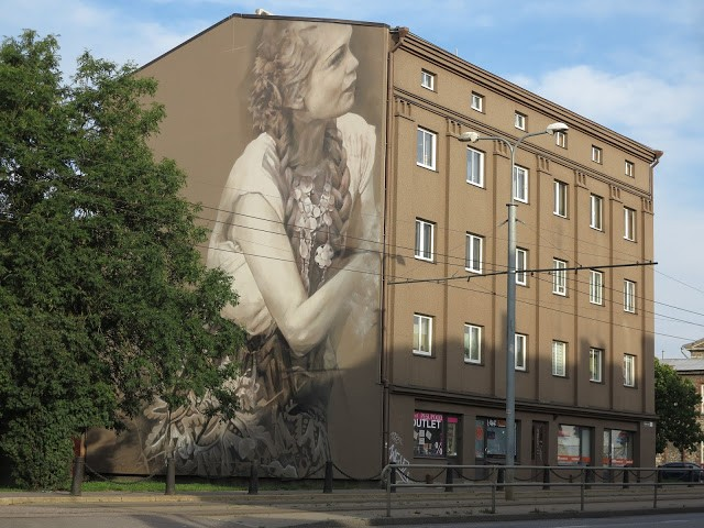 """Saarepiiga"", a new mural by Guido Van Helten in Tallinn, Estonia"