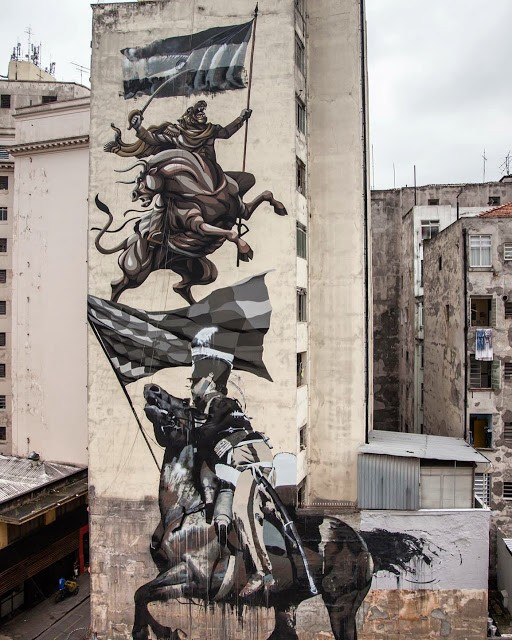 "Conor Harrington & Franco Fasoli ""JAZ"" collaborate on a large mural in Sao Paulo"