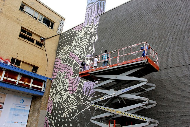 Mural '15: Work In Progress by Curiot in Montreal, Canada
