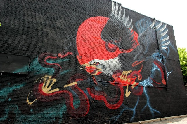 Mural '15: Work in progress by Nychos in Montreal, Canada