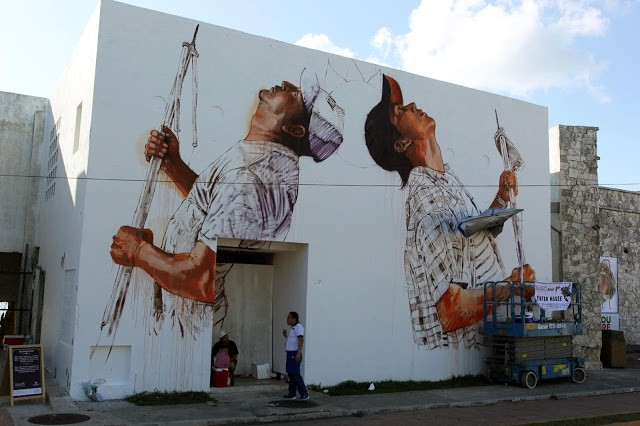 SeaWalls '15: Work In Progress by Fintan Magee in Cozumel, Mexico