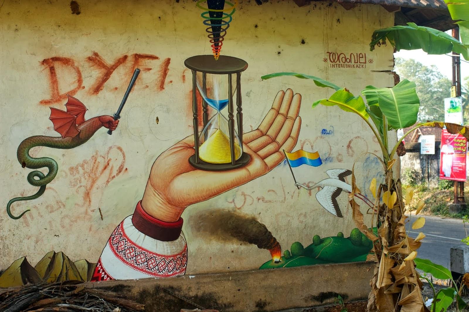 """Interesni Kazki """"Time For Change"""" New Mural - Varkala, India"""