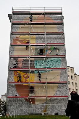 Da Mental Vaporz (Dran, Bom.K, Sowat…) New Mural In Progress, Brest France