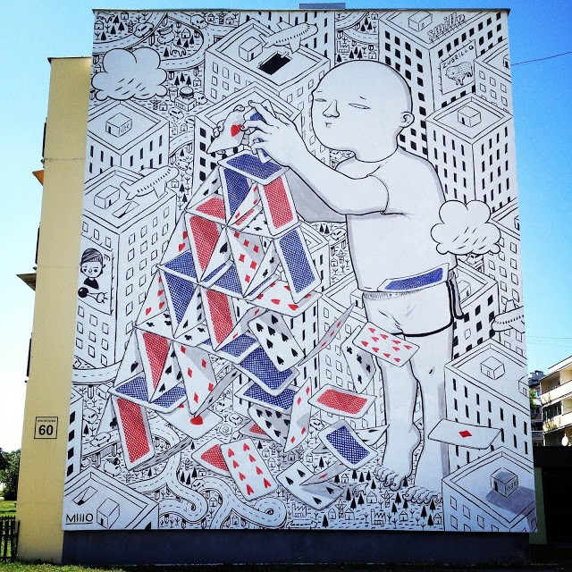 Millo paints a large new piece in Bialystok, Poland