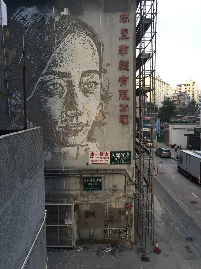 Vhils newest portrait in Hong-Kong