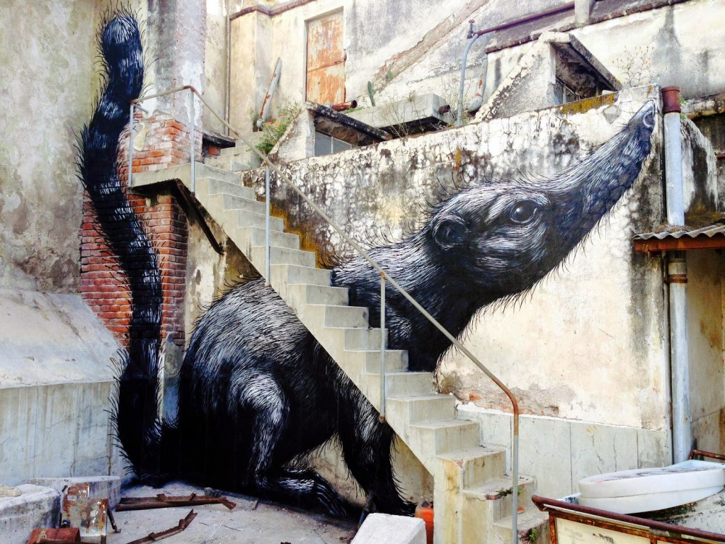 ROA paints a series of animals in Queretaro, Mexico