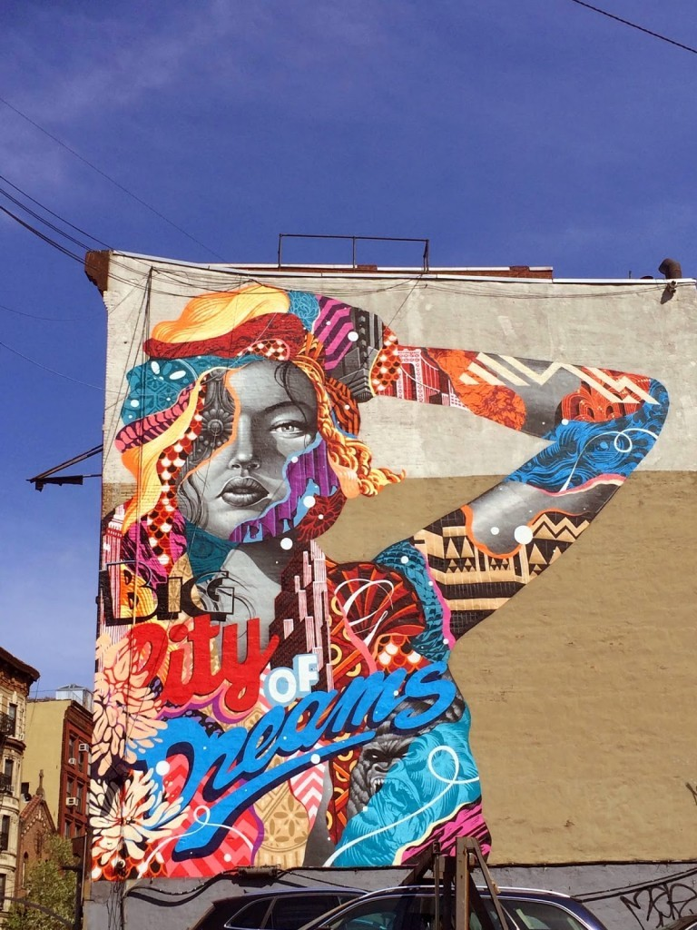 "Tristan Eaton paints ""Big City Dreams"" his newest mural in New York City"