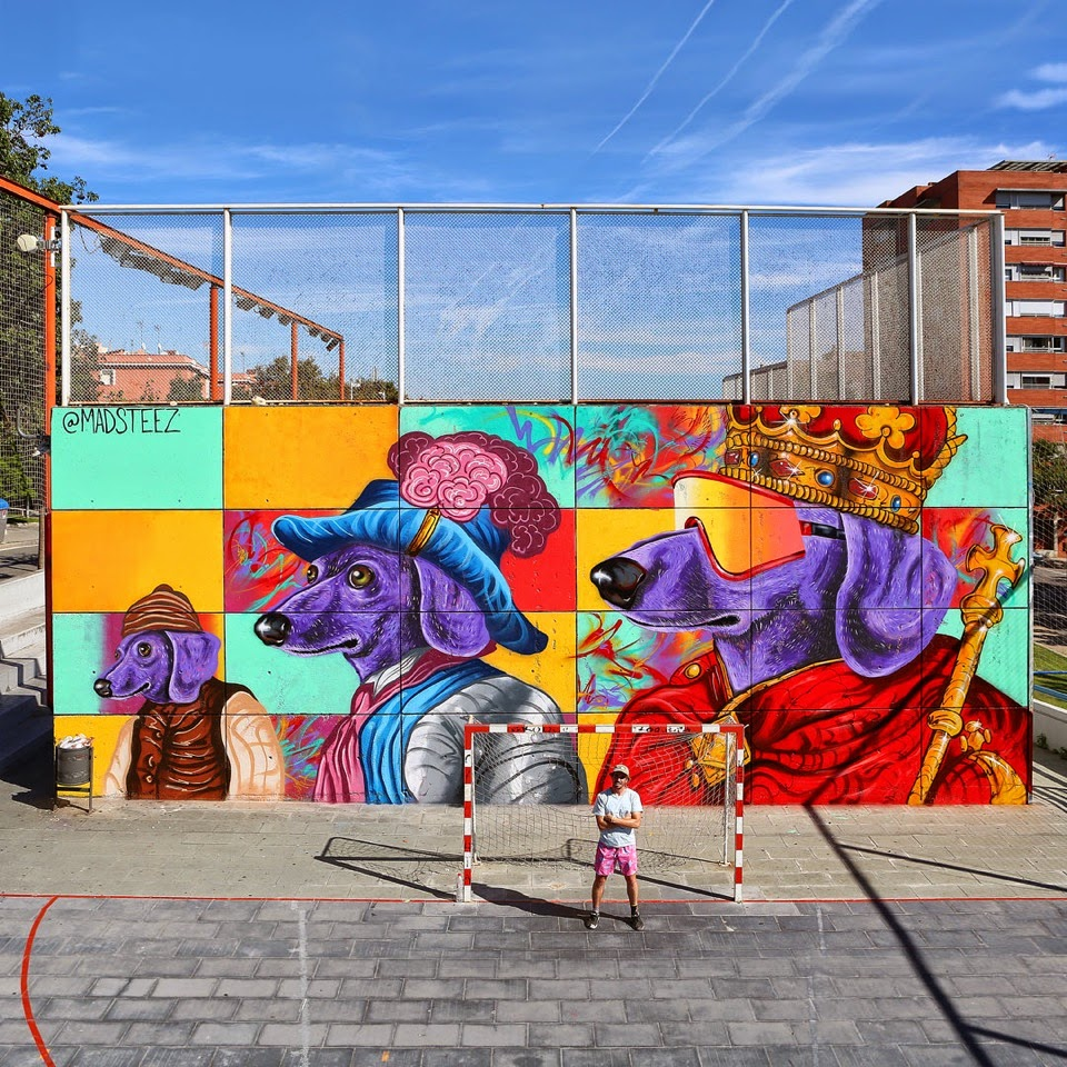 Madsteez paints a new piece in Barcelona, Spain