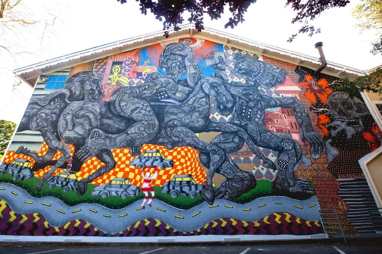 Zio ziegler creates a new mural in ross california for California mural