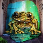 "Bordalo II unveils ""Yellow Frog"", a new installation in Baku, Azerbaijan"