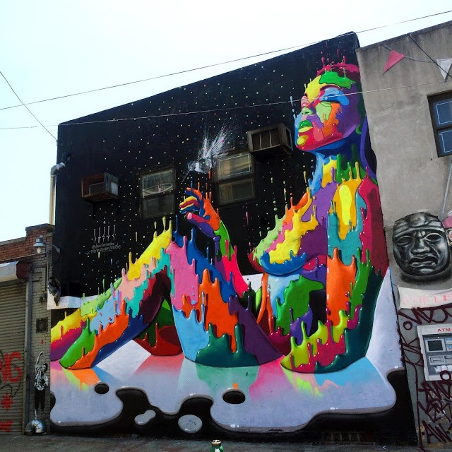 Dasic Fernandez paints a new piece in Bushwick, New York City