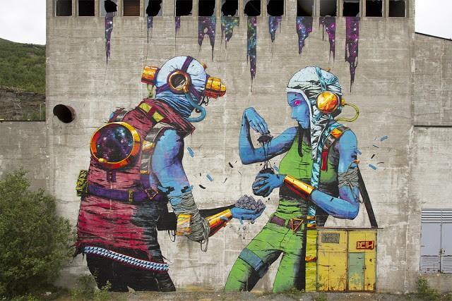 Deih paints a massive mural in Sulitjelma, Norway