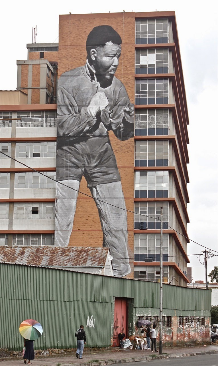 Freddy sam i am because we are new madiba tribute mural for African mural painting