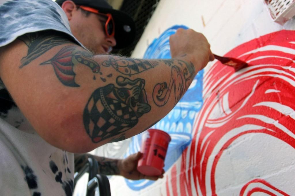 Andrew Schoultz Work In Progress For POW! WOW! Hawaii 2014 – Kaka'ako, Honolulu