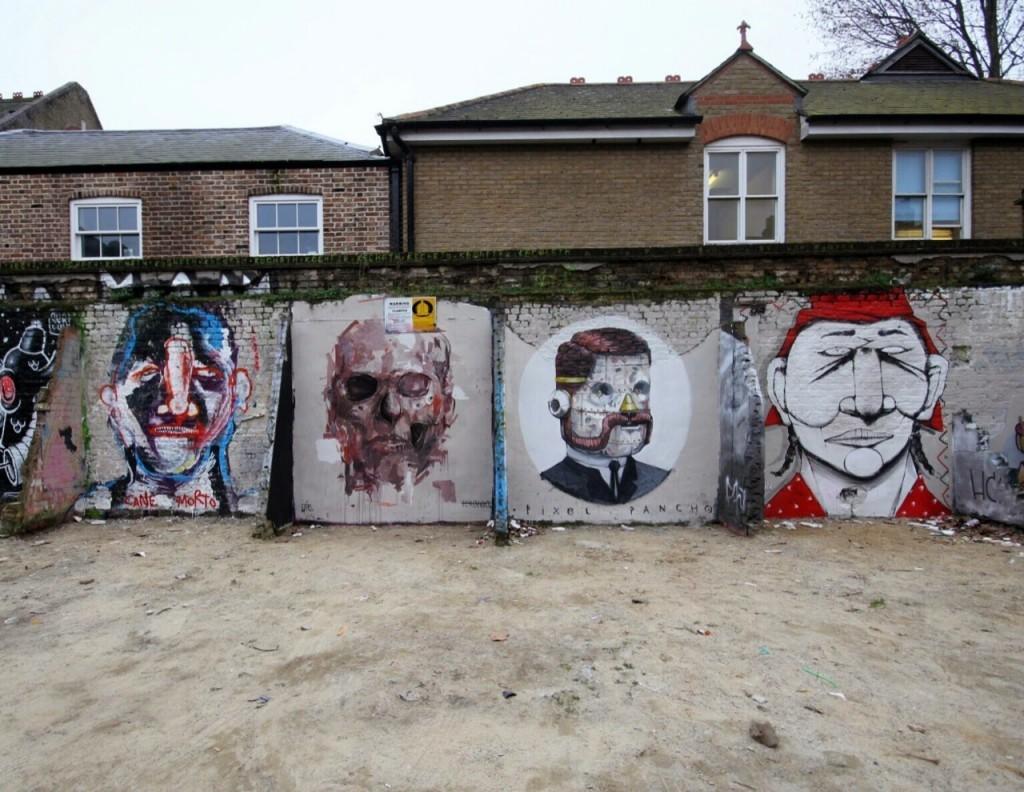Borondo x Alexis Diaz, Pixel Pancho, RUN, Cane Morto New Street Pieces – London, UK