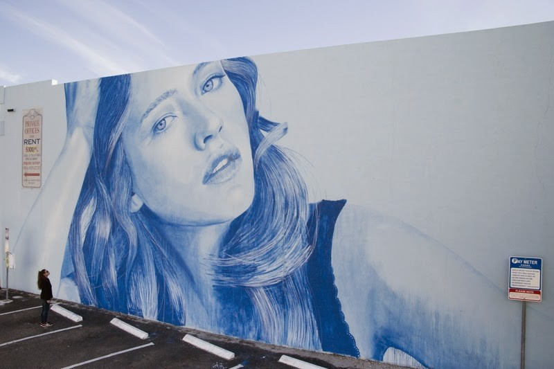 RONE paints a massive portrait in Hollywood, Florida