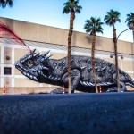 ROA creates a giant horned lizard in Las Vegas for JustKids & Life Is Beautiful Festival